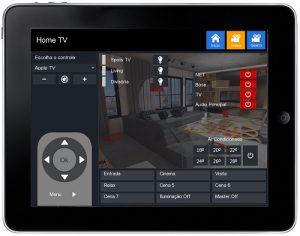 App iPad personalizada para automação residencial controle ar condicionado e TV
